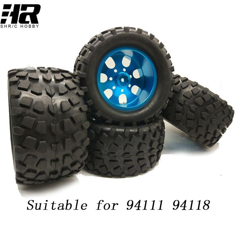 4pcs Aluminum alloy wheels tire RC car 1/10 HSP big foot tyre truck Snow desert tires Suitable for HSP 94111 94108 94188 HPI hsp 04001 durable 6061 aluminum alloy baseplate for 94111 94107 94170 light purple