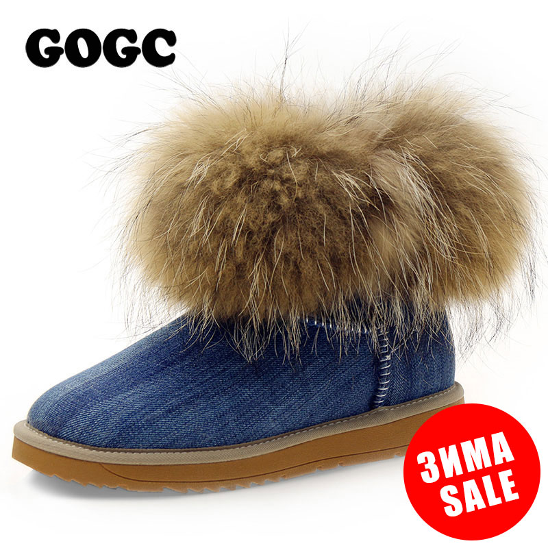 GOGC Russian Famous Brand Women's Winte Boots Real Fox Fur and Wool Snow Boots for Women Winter Shoes Warm Women's Winter Shoes