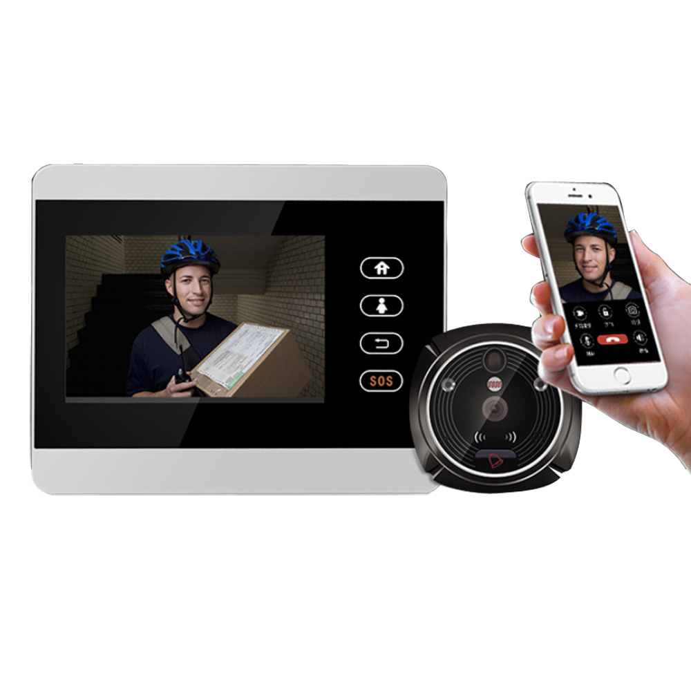 iHome5 Door Peephole Camera Wireless Peephole Camera WIFI with Motion Detection Control by Android Smart Phone