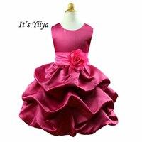Es YiiYa Vestido Rojo Con Colores Diferentes Fajas Flores O-cuello Sin Mangas Volantes Niños Niñas Princesa de Las Flores Vestido TS049