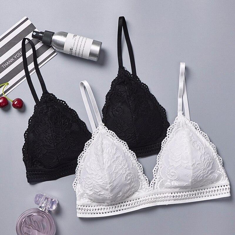 DeRuiLaDy 2 pièces Style français Bralette sans couture profonde V dentelle soutien-gorge sans fil mince sous-vêtements Sexy Lingerie doux Bras pour femmes fille