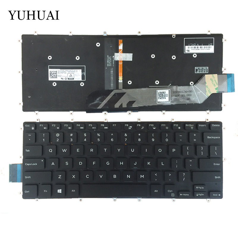 цена на US Laptop Keyboard For DELL Inspiron 13 5368 5378 black keyboard with Backlight