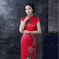 The Traditional Chinese Dress Restoring Cheongsams For Performance and Reception Show The Red Runway Long Cheongsam
