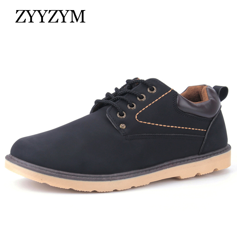 Man Casual Shoes Spring Autumn Lace up Style Pu Leather Flat Fashion Trend Round Toe Men