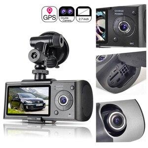 Image 1 - Araba kaydedici kamera GPS konumlandırma sürüş kaydedici HD 2.7 inç LCD ekran araba dvrı kamera ayna geniş açı Lens mikrofon