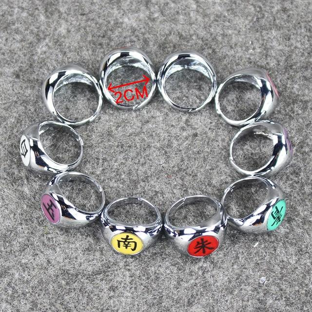 10pcs/Lot Anime Cosplay Naruto Akatsuki Members Ring Set