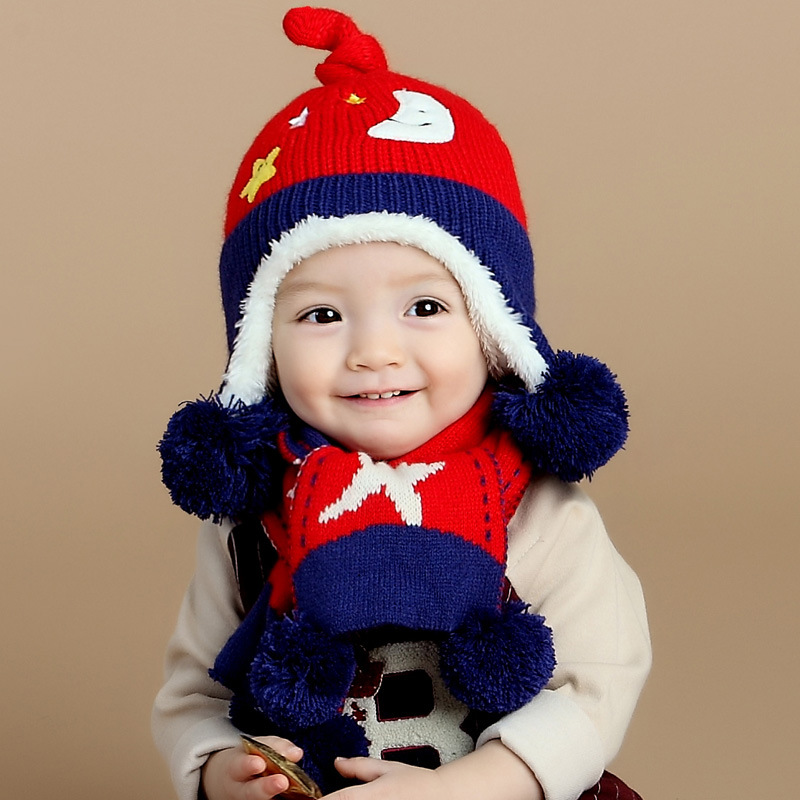 Baby hat scarf set girls winter hats Christmas cute fleece earflap cap boys toddler knitted children cap scarf newborn baby cap