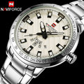 Homens quartz watch naviforce esporte relógios de luxo prata steel watch 30 m à prova d' água calendário de negócios relógios de pulso reloj hombre