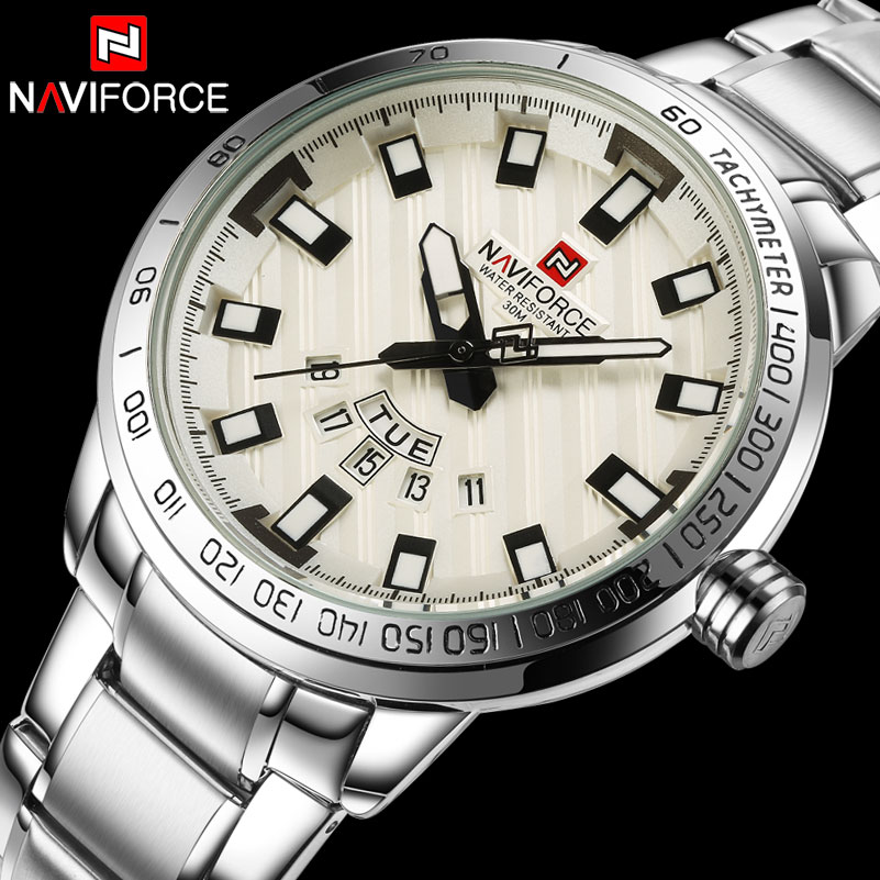 Hommes Montre À Quartz NAVIFORCE Montres De Sport De Luxe D'affaires Argentée Acier 30 m Étanche Calendrier Montres Reloj Hombre