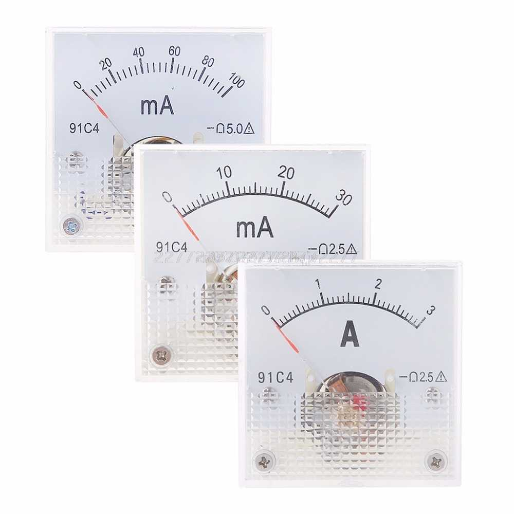 91C4 Ammeter DC Analog Current Meter Panel Mechanical Pointer Type 1/2/3/5/10/20/30/50/100/200/300/500mA A02 19 Dropship