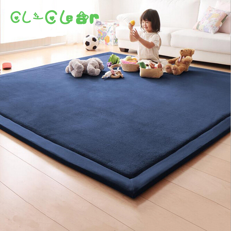New 2CM Thick play mats coral fleece blanket carpet children baby crawling tatami mats cushion mattress for bedroom shelf