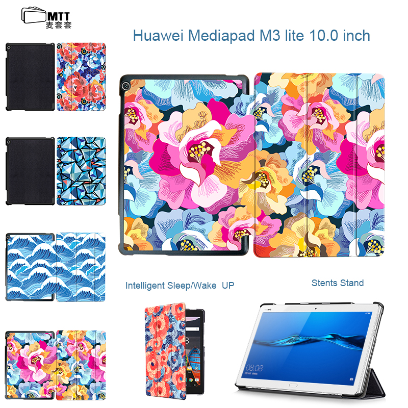 MTT Rose Petal Tablet Case For Huawei MediaPad M3 Lite 10 Case PU Leather Cover for Huawei M3 Lite 10 BAH-W09 BAH-AL00 10.1 inch smart ultra stand cover case for 2017 huawei mediapad m3 lite 10 tablet for bah w09 bah al00 10 tablet free gift