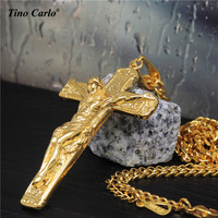 27 5 Men S Stainless Steel Gold JESUS CROSS Christ Crucifix Pendant Cuban Chain Necklace Fashion