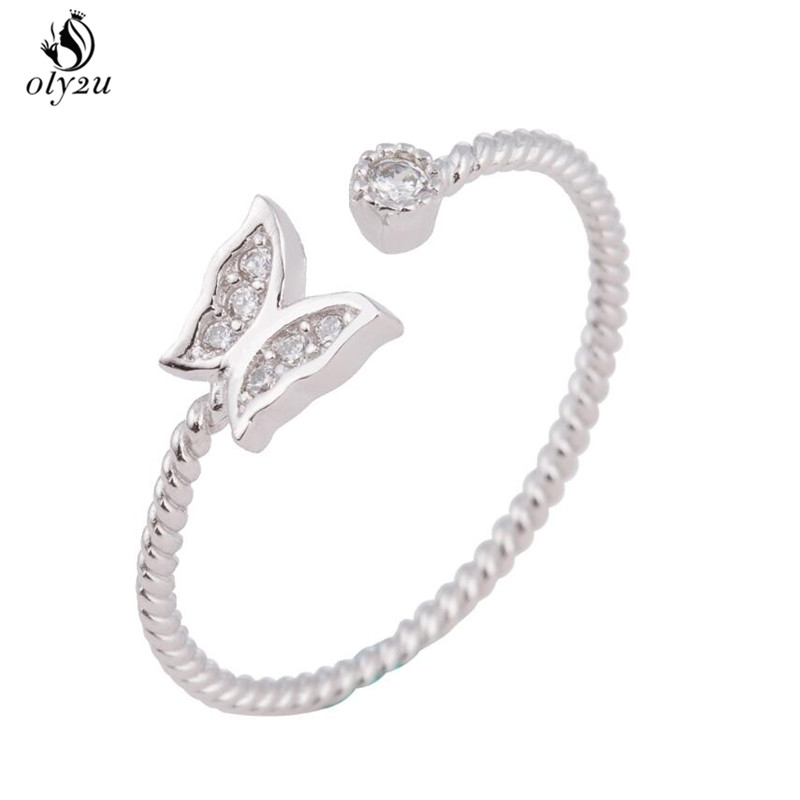 Oly2u Romantic Wedding Accessories Rose Color Austrian Crystal CZ Butterfly Rings Women  ...