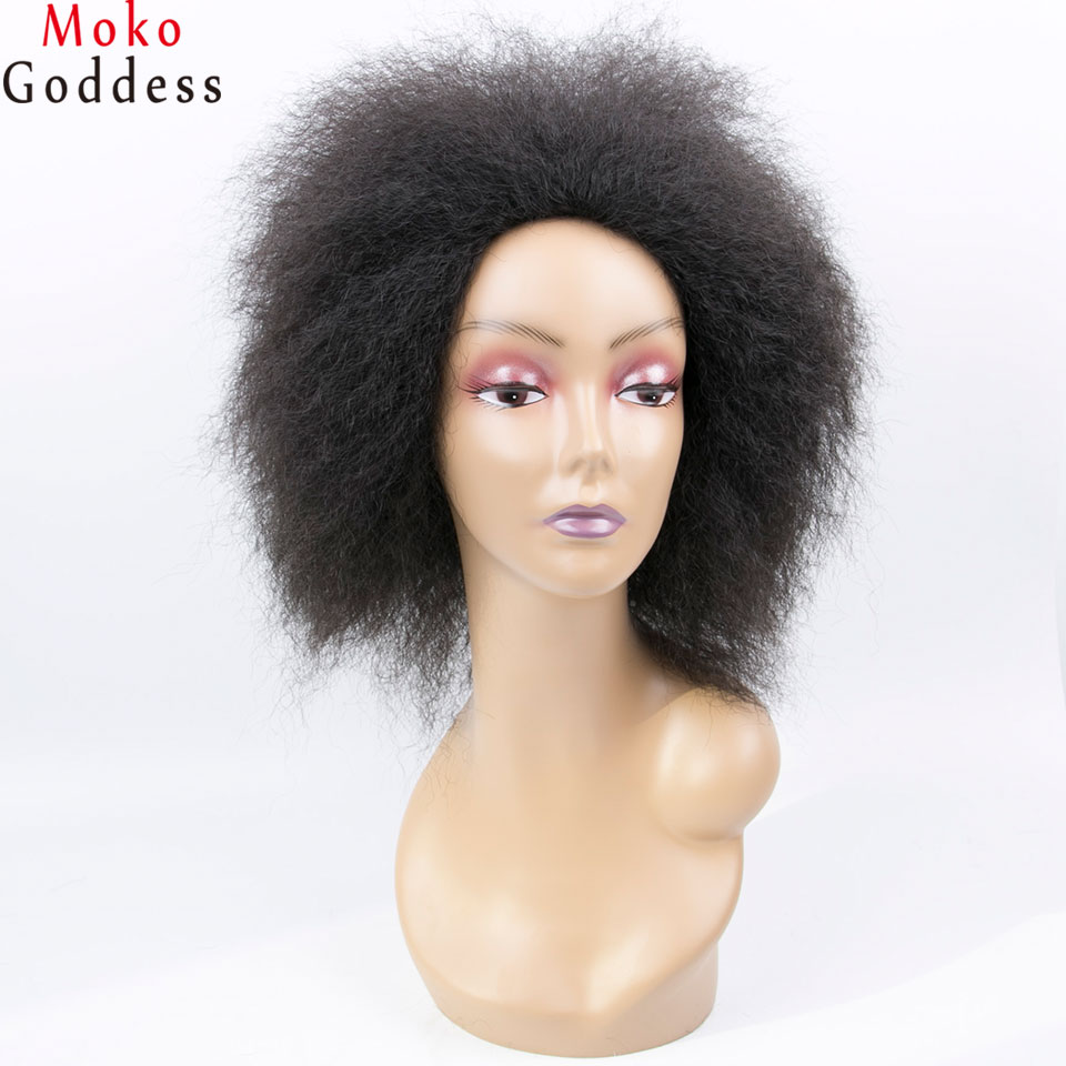 MoKoGoddess Afro Kinky Straight Synthetic Wigs For Women Short Black Wig African American Braided Wigs