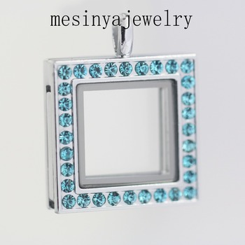 Free shipping 10 pcs blue zirconia color crystal square glass locket for floating charms keepsake Xmas gift.mother's day gift