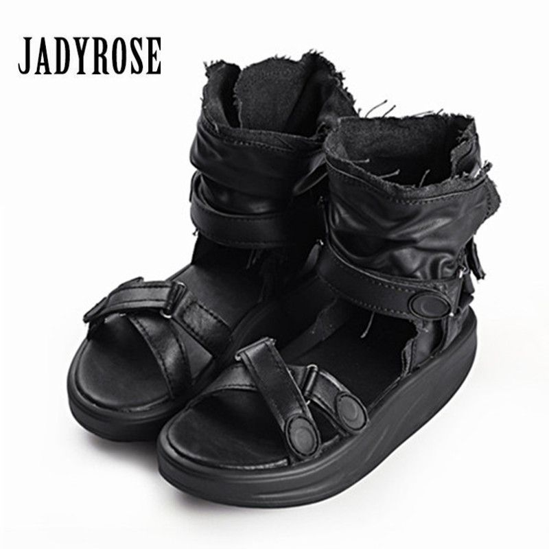 Jady Rose Summer Platform Sandals Genuine Leather Thick Heel Wedge Shoes Woman Casual Gladiator Sandal Creepers