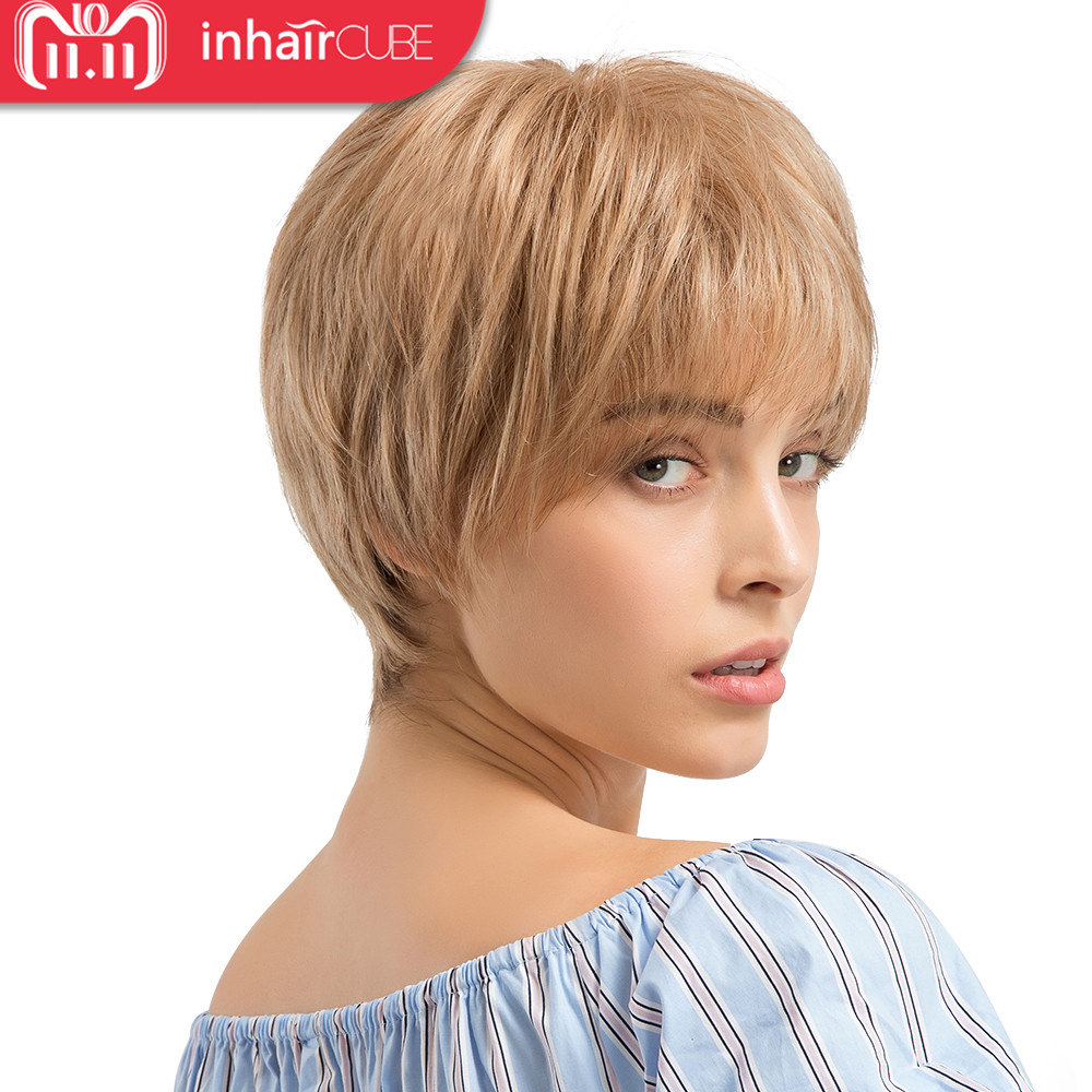 INHAIR CUBE Synthetic Blend Hair Short Wig Blonde Heat Resistant Straight Wigs with Bangs for Women  Elastic Straps Free Gift
