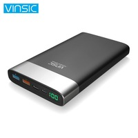 Vinsic 20000mAh Power Bank Quick Charge 3 0 Dual USB Type C External Battery Charger For