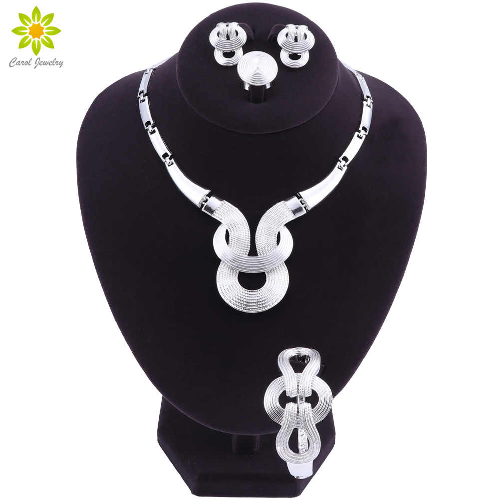 2018 Fashion African Jewelry Set Nigerian Wedding Silver-color Beads Jewelry Set Bridal Necklace Earrings Bracelet Ring