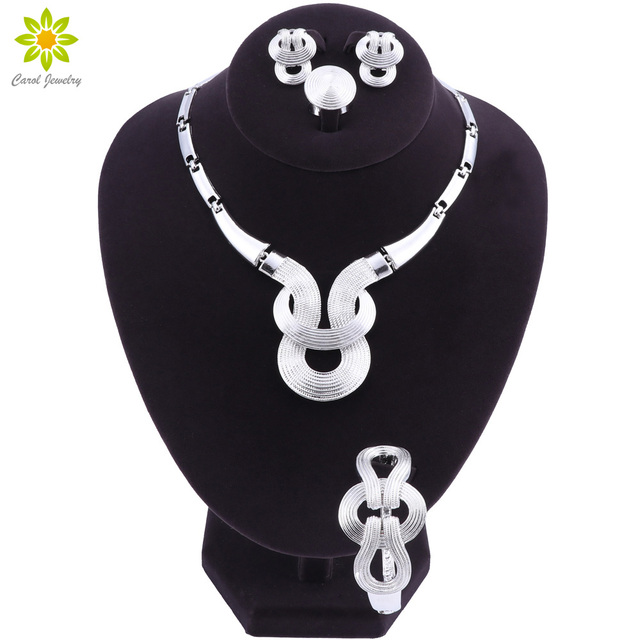 2018 סט תכשיטים אפריקאי אופנה תכשיטי חרוזים צבע כסף כלה ניגרית-סט הכלה שרשראות עגילי טבעת צמיד