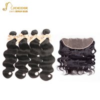 Joedir Brazilian Human Hair Extension 4 Bundles Human Hair Bundles With 13X4 Lace Closure Human Hair Bundles Natural Color