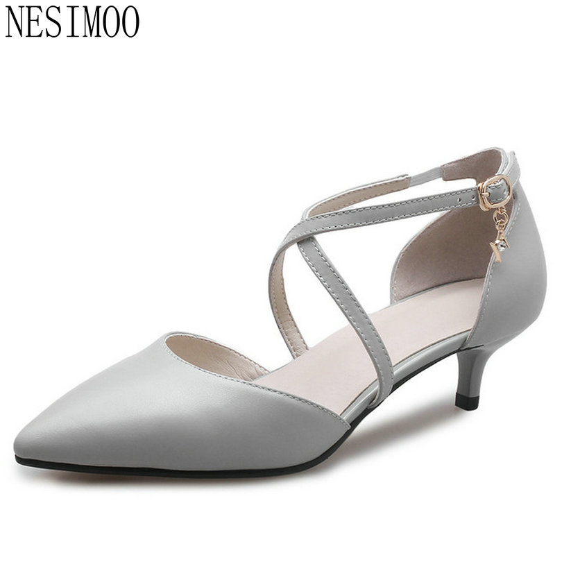 NESIMOO 2018 Women Pumps Thin Heel Wedding Shoes Fashion Cow Leather +pu Pointed Toe Spring/Autumn Ladies Pumps Size 34-41 nesimoo 2018 women pumps pointed toe thin high heel genuine leather butterfly knot ladies wedding shoes slip on size 34 39