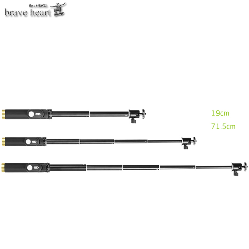 brave heart bluetooth remote control handheld monopod tripod selfie stick for xiaomi yi xiao yi. Black Bedroom Furniture Sets. Home Design Ideas
