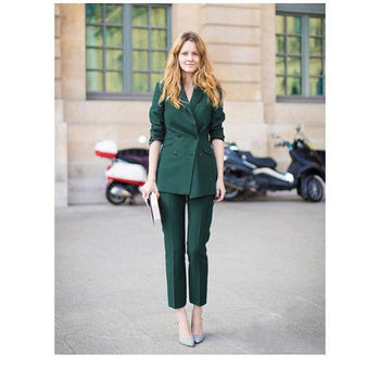 Dark Green Girls Business Suit For Ladies Formal Two Piece Suits Women Double Breasted Custom Made B154