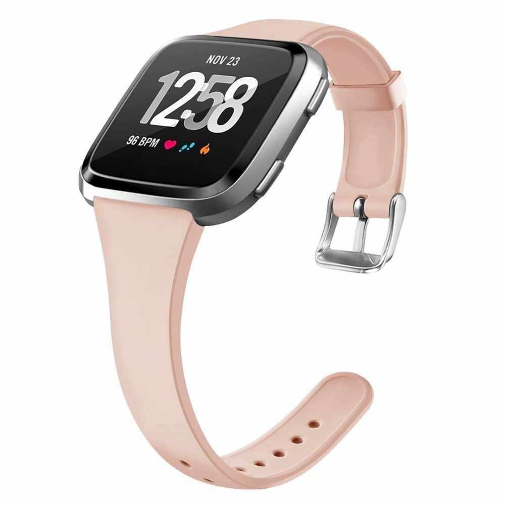Duszake Wristband Per Fitbit Versa/Versa Lite Cinturino Morbido Silicone Sottile Sottile Stretta Banda di Ricambio Per Fitbit Versa Delle Donne uomini