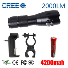 CREE XML T6 LED Flashlight  5 Mode Zoomable Torch Tactical Lamp lantern +18650 Rechargeable battery Charger and Bicycle Clip