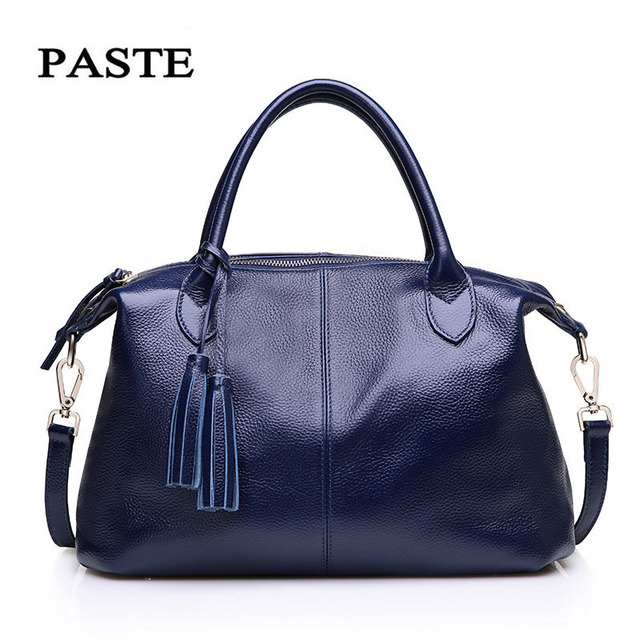 c28aac2628d7 US $47.41 45% OFF|Aliexpress.com : Buy PASTE Genuine Leather Bags Handbags  Women Famous Brands Large Capacity Shoulder Bags Soft Messenger Bags Blue  ...