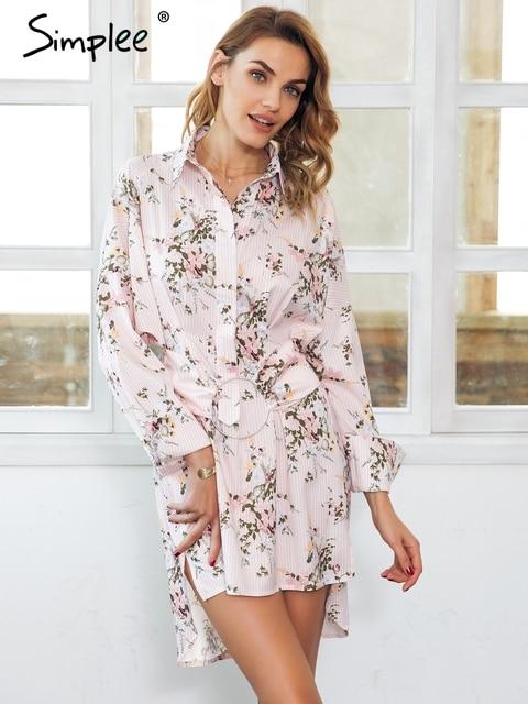 6e6e0c7f7d Simplee estampa floral mini vestido camisa faixa das mulheres Streetwear  camiseta vestido casual 2018 Primavera boho