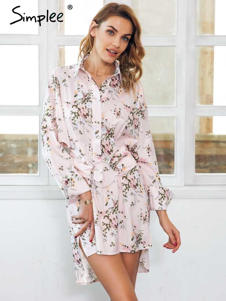 e63cde4008a Simplee цветочным принтом мини платье-футболка Женщины Уличная пояс-кушак t  платье-футболка