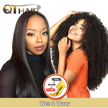 Wet And Wavy Human Hair Bundles Magic Hair Kinky Curly Bundles Peruvian Straight Hair Will Become Curly After We QT Non-remy - DISCOUNT ITEM  50 OFF Hair Extensions & Wigs