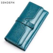 Кошелек sendefn из спилка женский кожаный вместительный синий