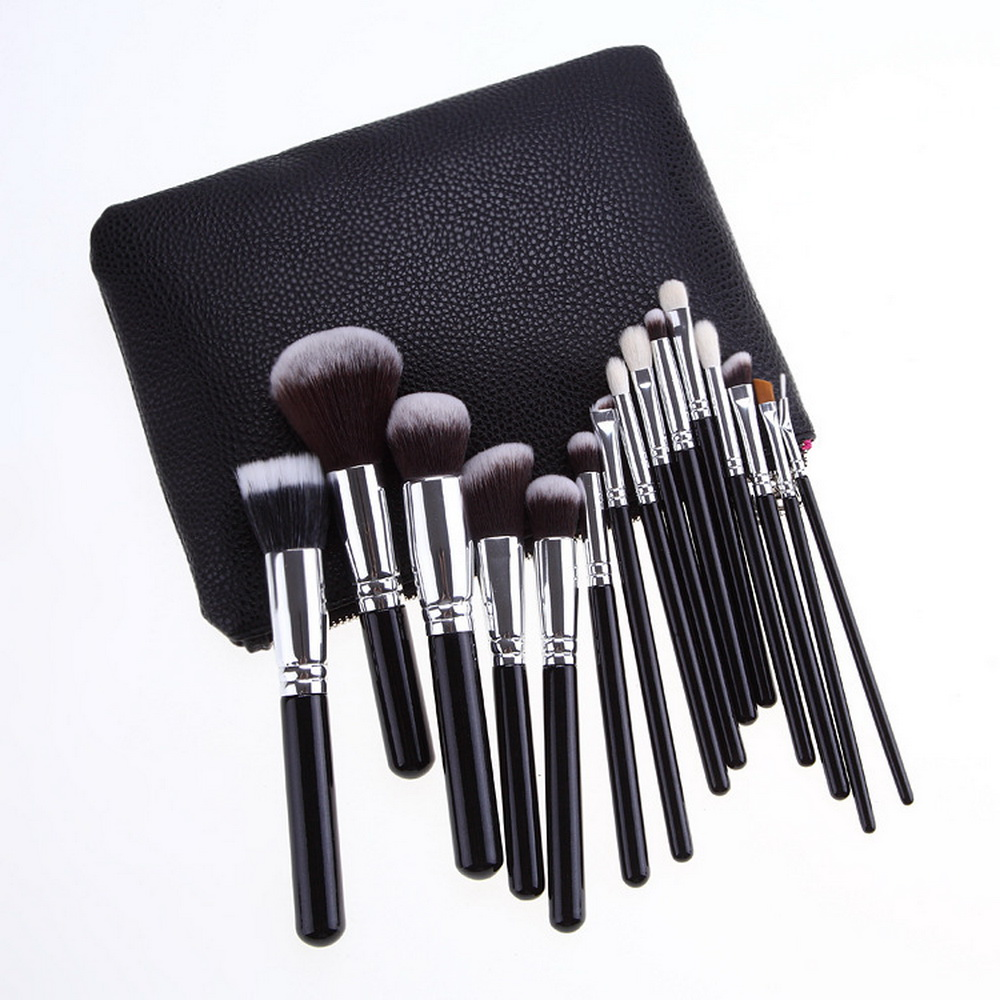 Pro 15pcs Makeup Brushes Set Powder Foundation Eyeshadow Make Up Brushes Cosmetics Soft Synthetic Hair With PU Leather Case mac splash and last pro longwear powder устойчивая компактная пудра dark tan