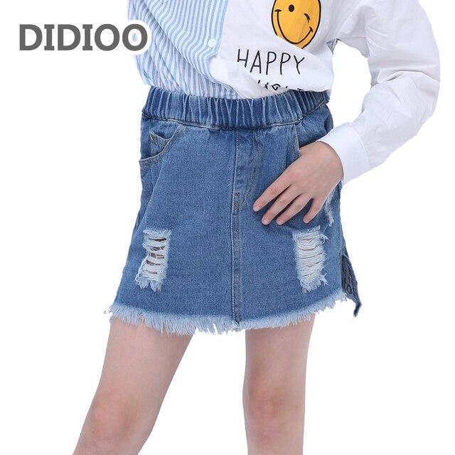 720f1a685 Faldas para Niñas sirena Denim Faldas otoño niños Vaqueros inferior niño  ocasional ropa 6 8 10