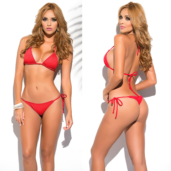 Sexy Solid Thong Bikini Women's Beach 2018 Brazilian Swimwear Female Bikinis Set Departure Beach Swimsuit String Biquini S-XL 67 3