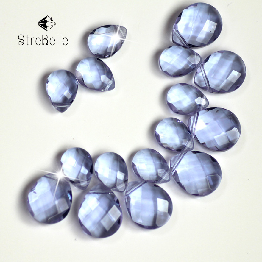 Free Shipping 9X12mm 12X15mm 50pcs lt violet Drop Water Cross Hole loose faceted glass c ...