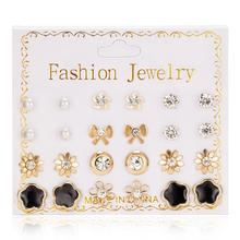 Fashion Mixing Crystal Simluated Pearl Stud Earrings 12 Pair/Set Flower Bowknot Star Zircon Shiny Earring Jewelry For Women Girl