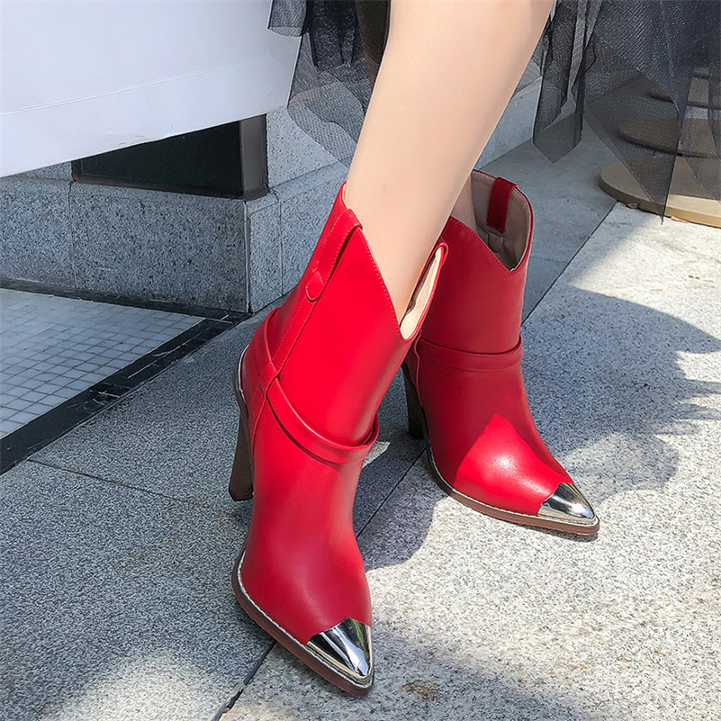 Image 5 - FEDONAS Women Brand Midcalf Boots Sexy Pointed Toe Autumn Winter Metal Toe Party Dancing Shoes Woman High Genuine Leather Boots-in Mid-Calf Boots from Shoes