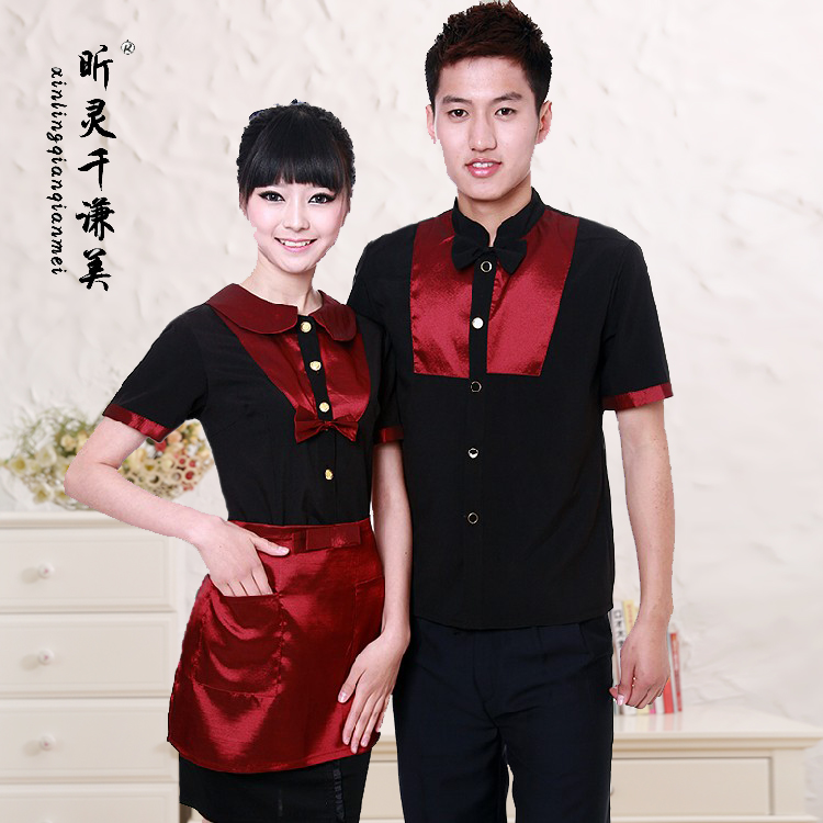 Hotel Uniform Summer Hotel Catering Waiter Clothing Shop Female Hot Pot Restaurant One Short Sleeved Frock J277
