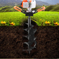1900W High Power Post Hole Digger Professional Earth Auger Drill Bits Gasoline Power Hole Digger Garden Fence Borer Extend Pole