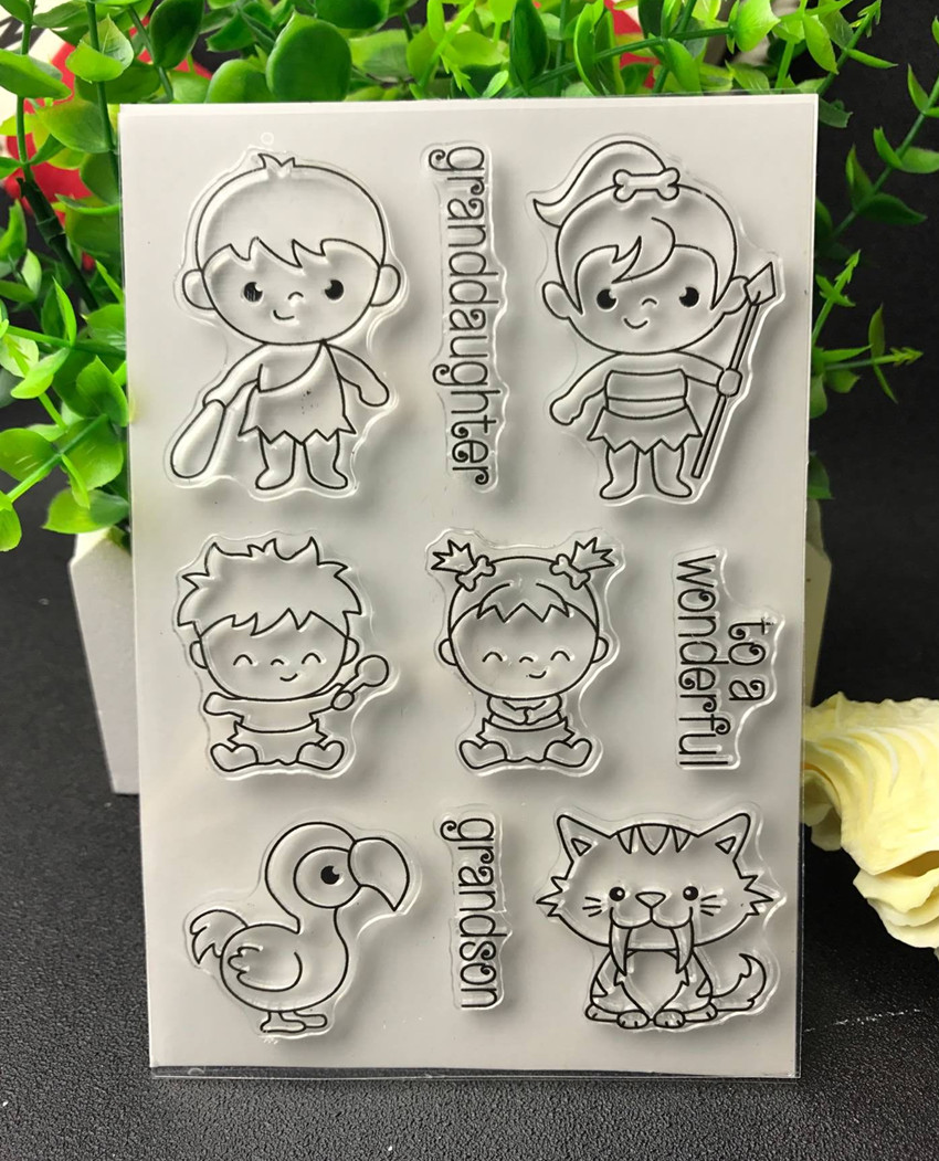 Forest boy Transparent Clear Silicone Stamp/Seal for DIY scrapbooking/photo album Decorative clear stamp lovely animals and ballon design transparent clear silicone stamp for diy scrapbooking photo album clear stamp cl 278