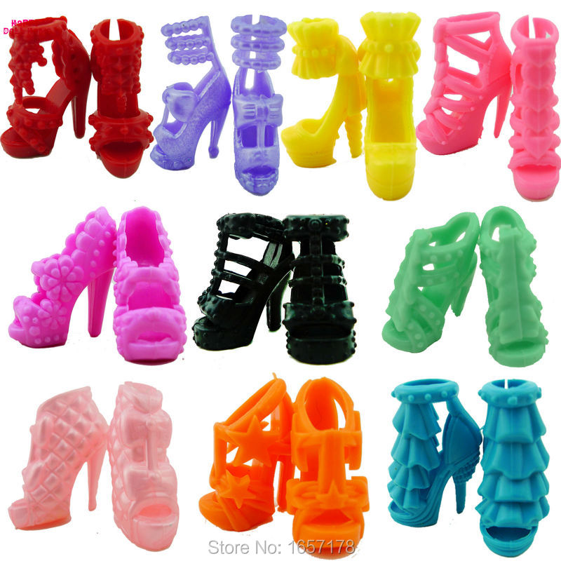 10 Pairs Different Fashion Cute Colorful Shoes Heels Sandals For Barbie Clothes Dress Doll Shoe Accessories Best Gift Child Toys 1set fashion doll shoes cute colorful assorted shoes high heel sandals for barbie doll outfits dress accessories girls gift