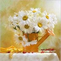 New 5D White Daisy Diamond Mosaic Embroidery Beads Beautiful Mosaic Sunflowers Floral Diamonds Cross Stitch Painting