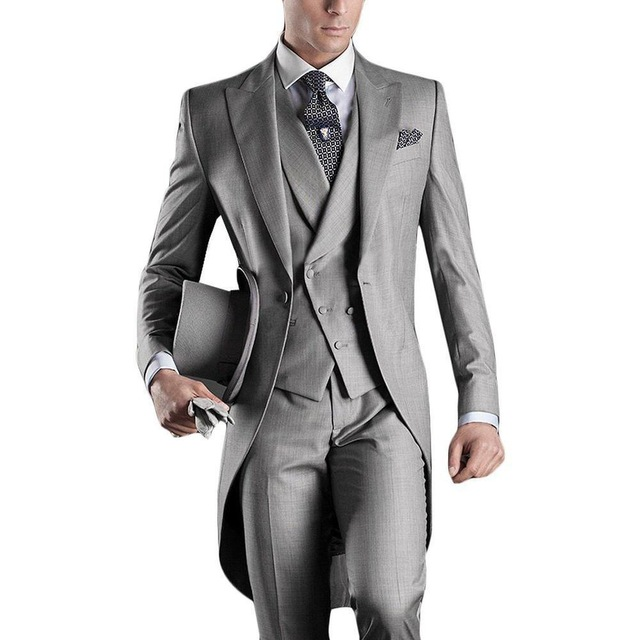 Classic Light Grey Suits Blazer Long With Pants 2020 Wedding Tuxedos For Bridegoom Business Men Formal Party Wear Suits 3 Pieces