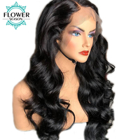 FlowerSeason 180% Density Deep Part 13x6 Human Hair Lace Front Wigs With Baby Hair Peruvian Remy Hair Preplucked Lace Wig Wavy