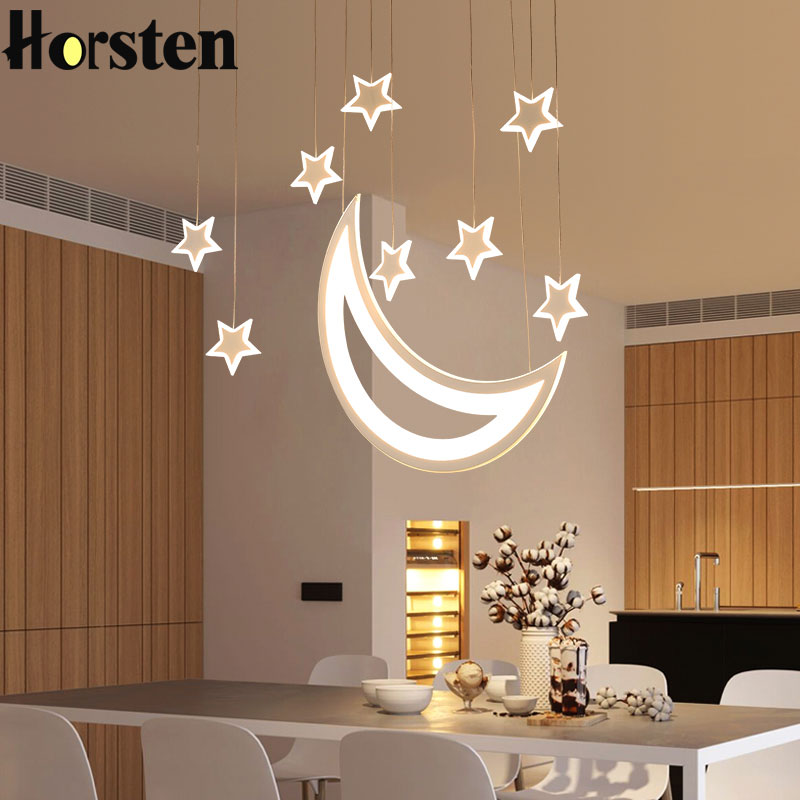 Creative Moon Star Restaurant LED Pendant Lights Personality Bar Lamp Acrylic Pendant Lamp Hanging Lamps For Bedroom Dining Room